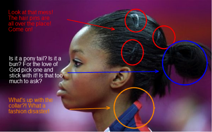 Gabrielle Douglas' ponytail along with some of the criticism she received (Source: The Sarcasimist)